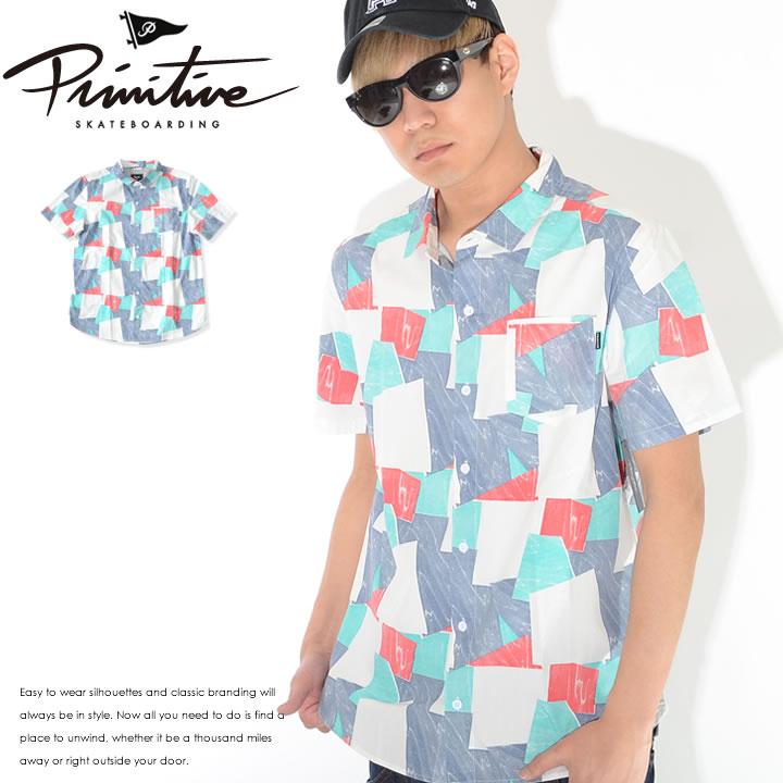 【セール】PRIMITIVE プリミティブ 半袖シャツ 総柄 幾何学&ウェービー柄 *(PR18MU04)