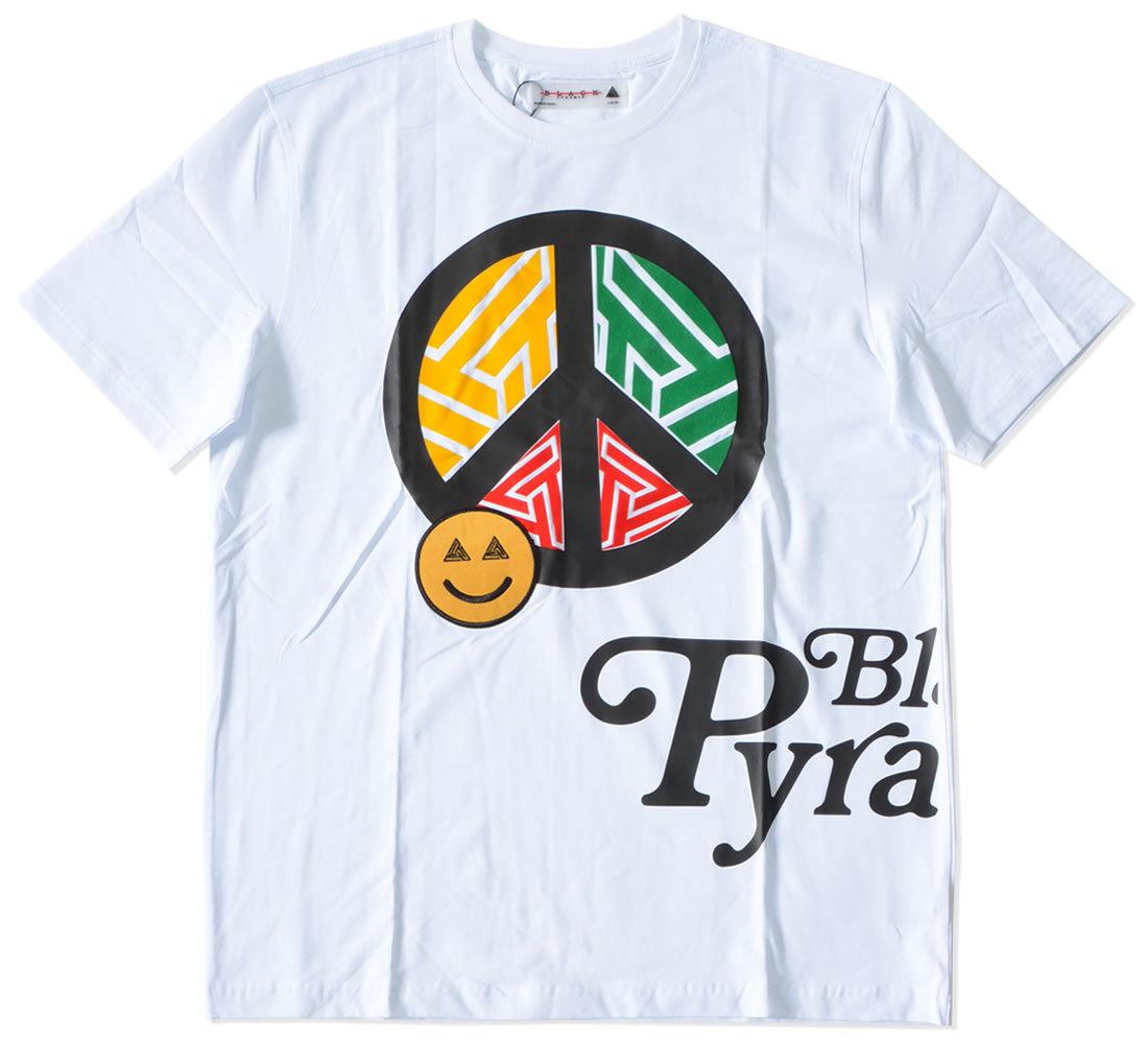 BLACK PYRAMID ブラックピラミッド Tシャツ 半袖 ピースマーク スマイル ラスタカラー (Y1162597)