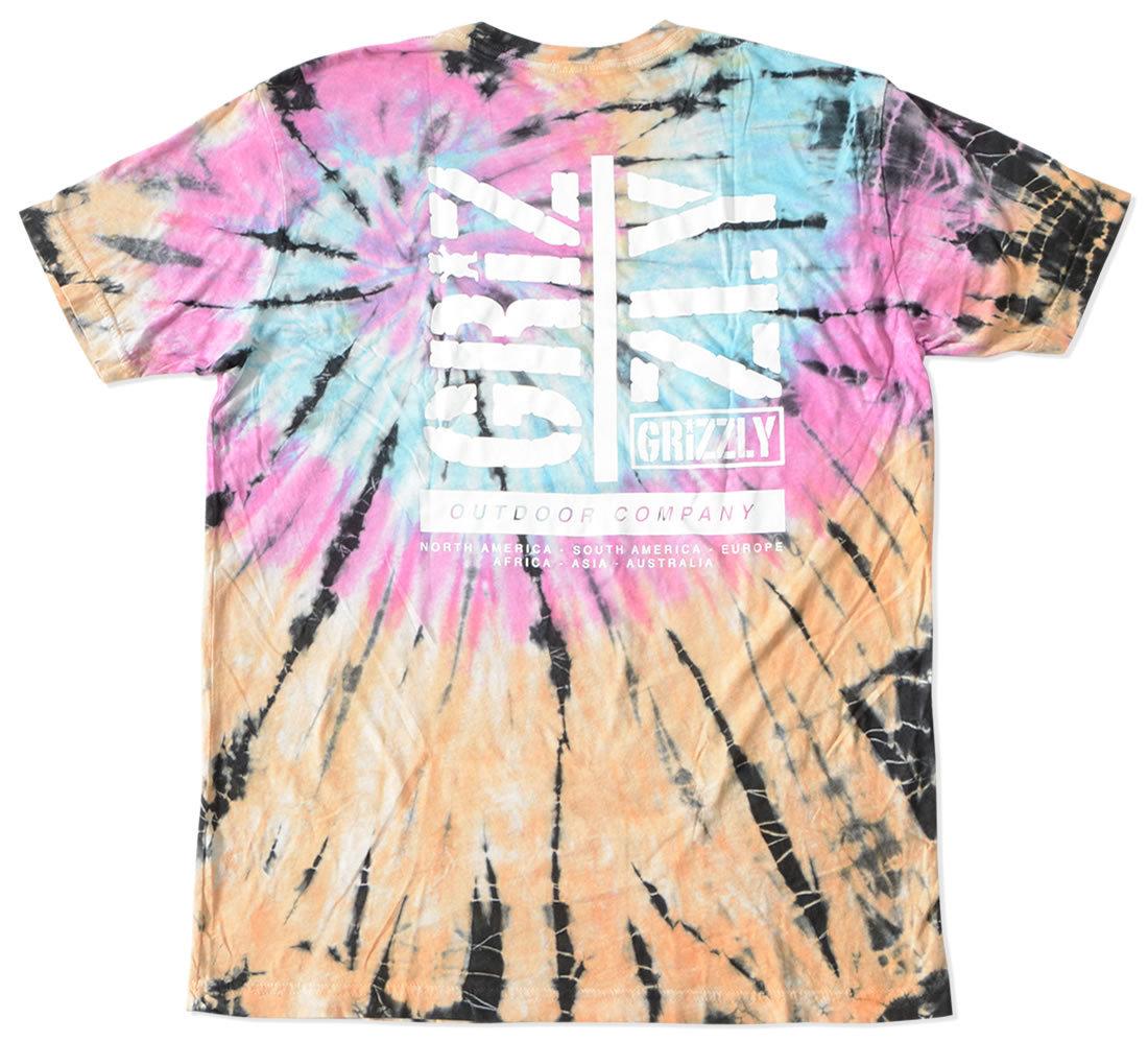 GRIZZLY グリズリー Tシャツ 半袖 総柄タイダイ 胸OGベア (vigr21sp79)