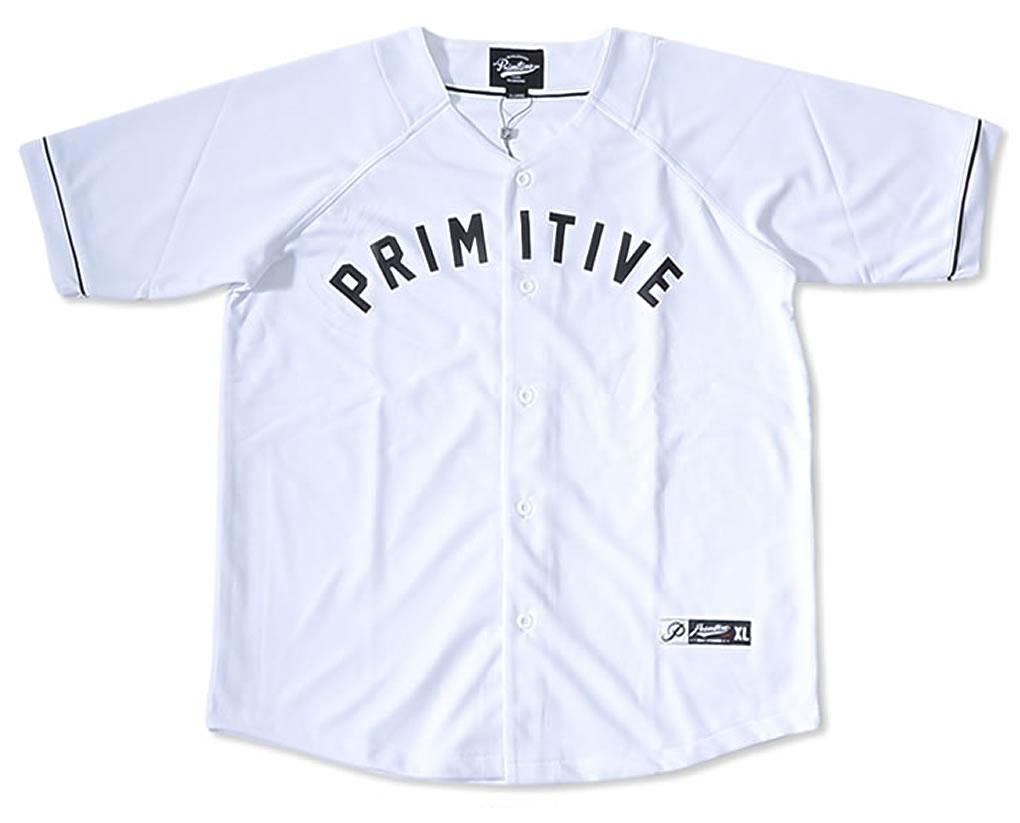 【セール】PRIMITIVE プリミティブ ベースボールシャツ 半袖 メッシュ アーチロゴ *(PASKT376)