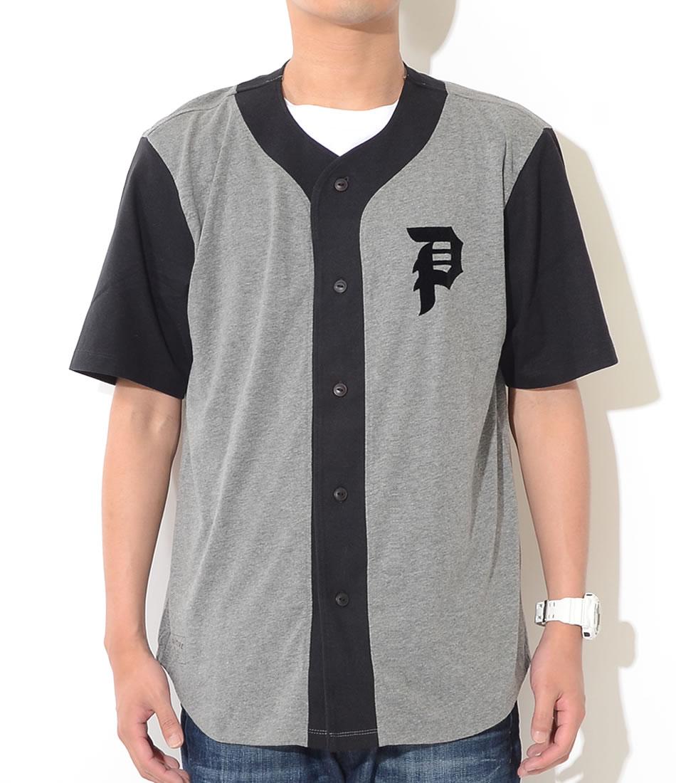 【セール】PRIMITIVE プリミティブ ベースボールシャツ 半袖 切替 左胸ダーティーP フロッキー *(PA117300)