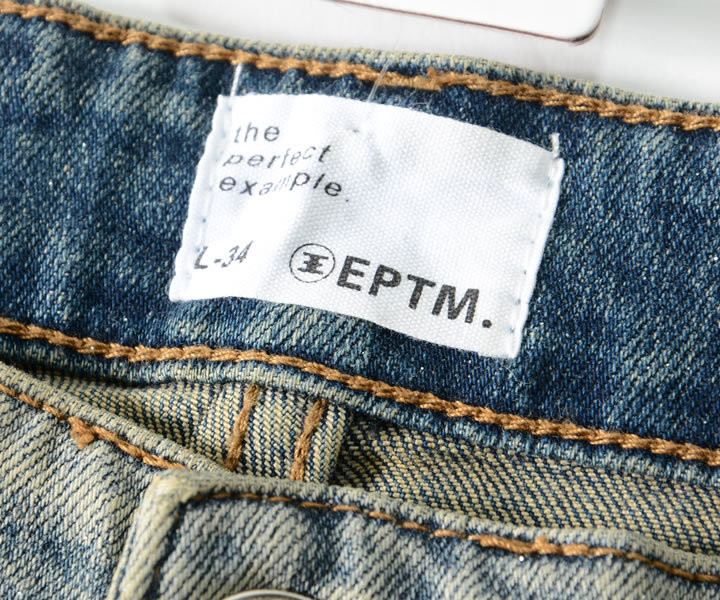 EPTM エピトミ デニムパンツ ダメージ加工 総柄スター ラメプリント (EP9757)