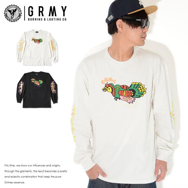 GRIMEY グライミー ロンT ロングTシャツ 長袖 バード刺繍 マルチカラー (GLS137)