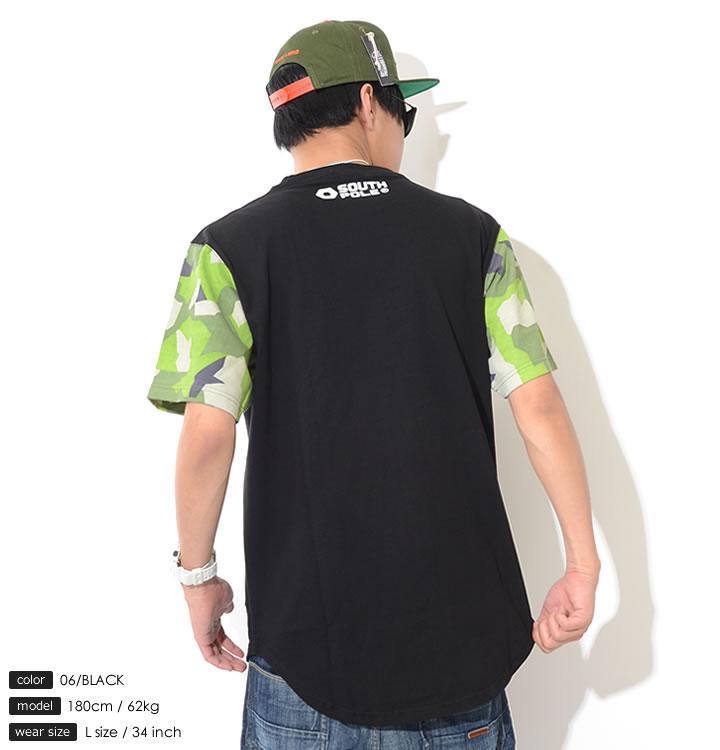 【セール】SOUTHPOLE サウスポール Tシャツ 半袖 ロング丈 裾ラウンド 切替アームカモ (11822054)