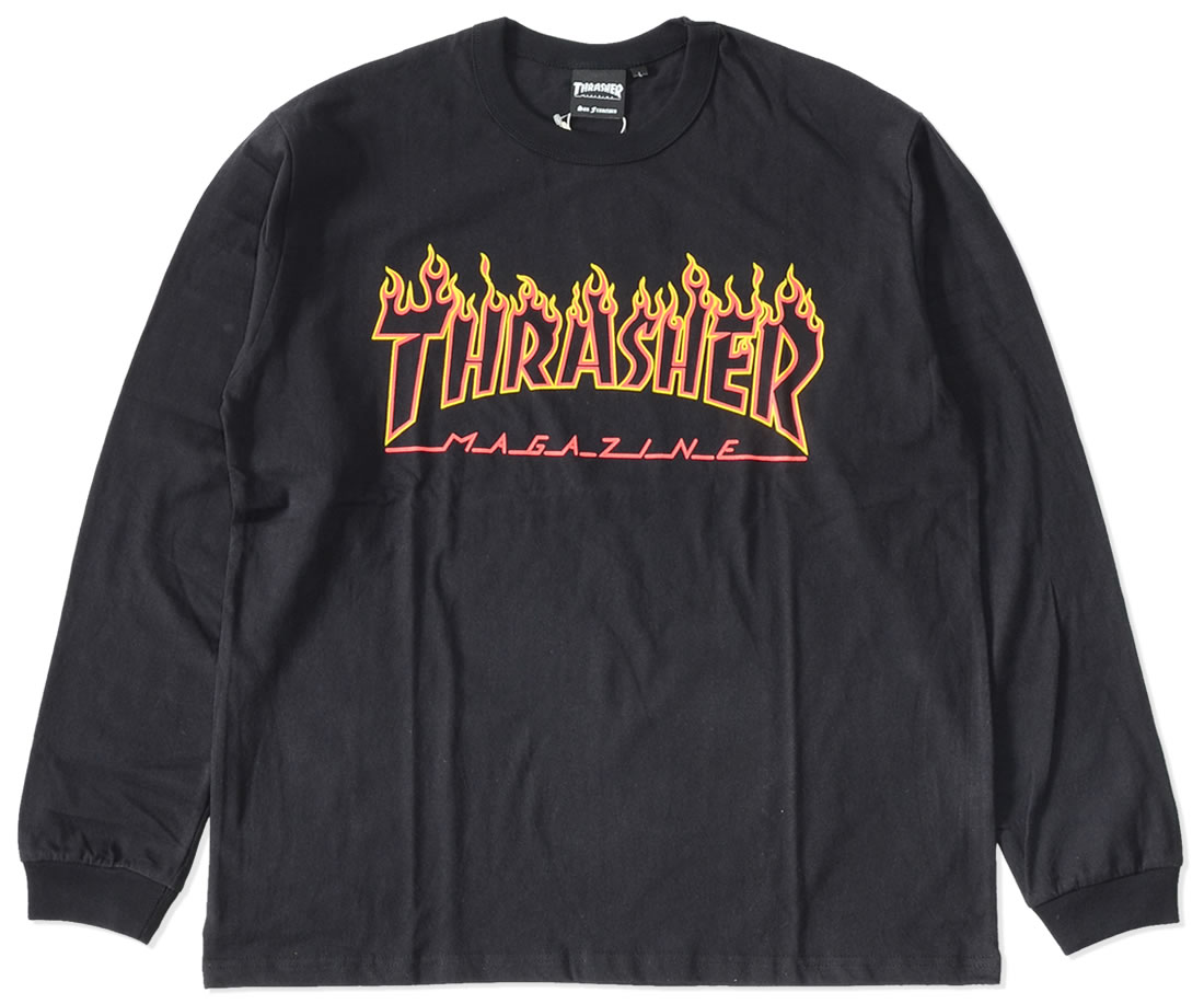 【セール】THRASHER スラッシャー ロンT ロングTシャツ 長袖 フレイムMAGロゴ (TH93214US)