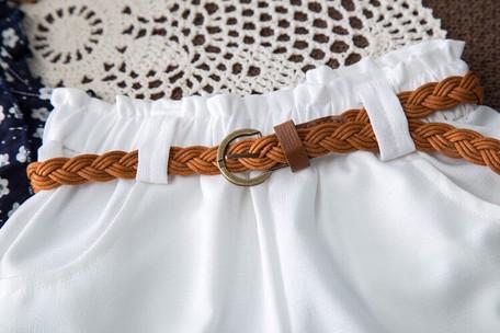 女の子シャツ+パンツ+ベルト3点セット