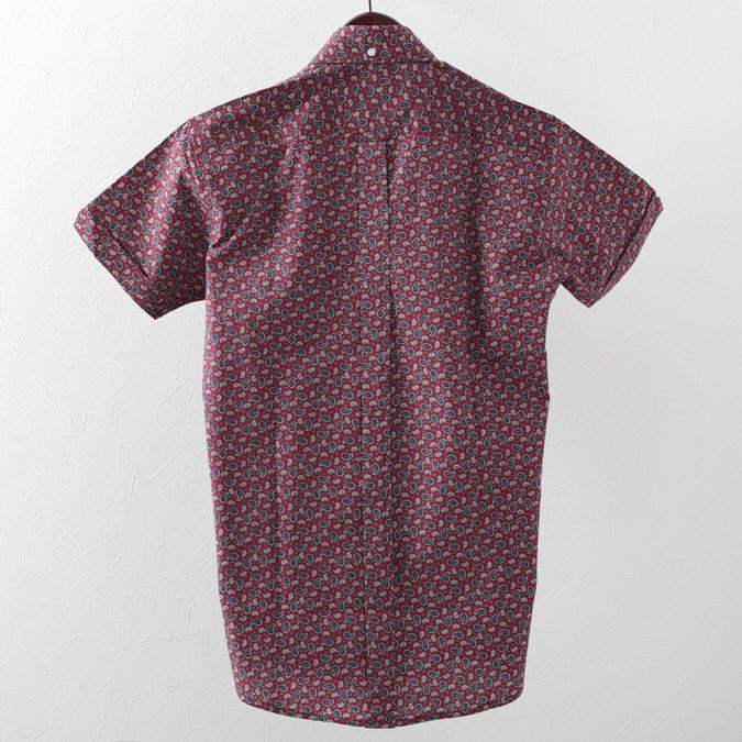 RELCO メンズ 半袖シャツ ペイズリー レルコ レトロ バーガンディー ワイン モッズファッション