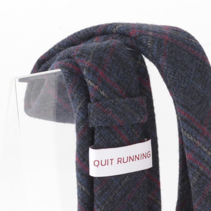 英国ブランドQuit Running ウールタイ  ネイビーチェック クイトランニング ギフトBOX付 ハンドメイド