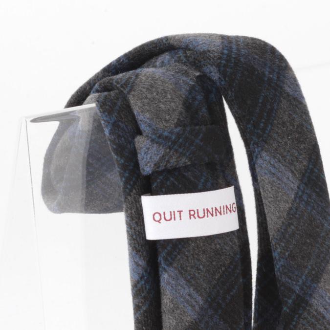 英国ブランドQuit Running ウールタイ  ブラックブルータータン クイトランニング