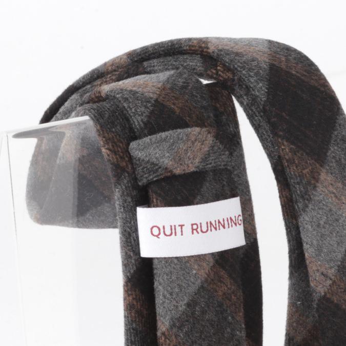 英国ブランドQuit Running ウールタイ  ブラックブラウンタータン クイトランニング ギフトBOX付 ハンドメイド