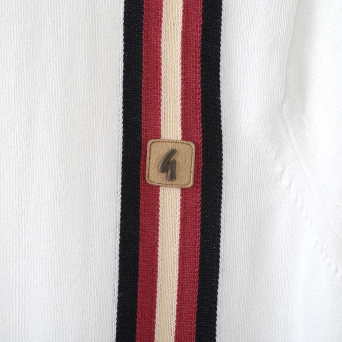 Gabicci メンズ ポロシャツ ポロ ガビッチ ジップスルー ストライプ 19SS  レトロ 2色 ホワイト ネイビー
