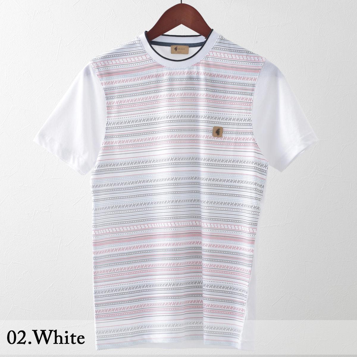 Gabicci メンズ Tシャツ ジオライン ドット ガビッチ 2色 ネイビー ホワイト レトロ モッズファッション