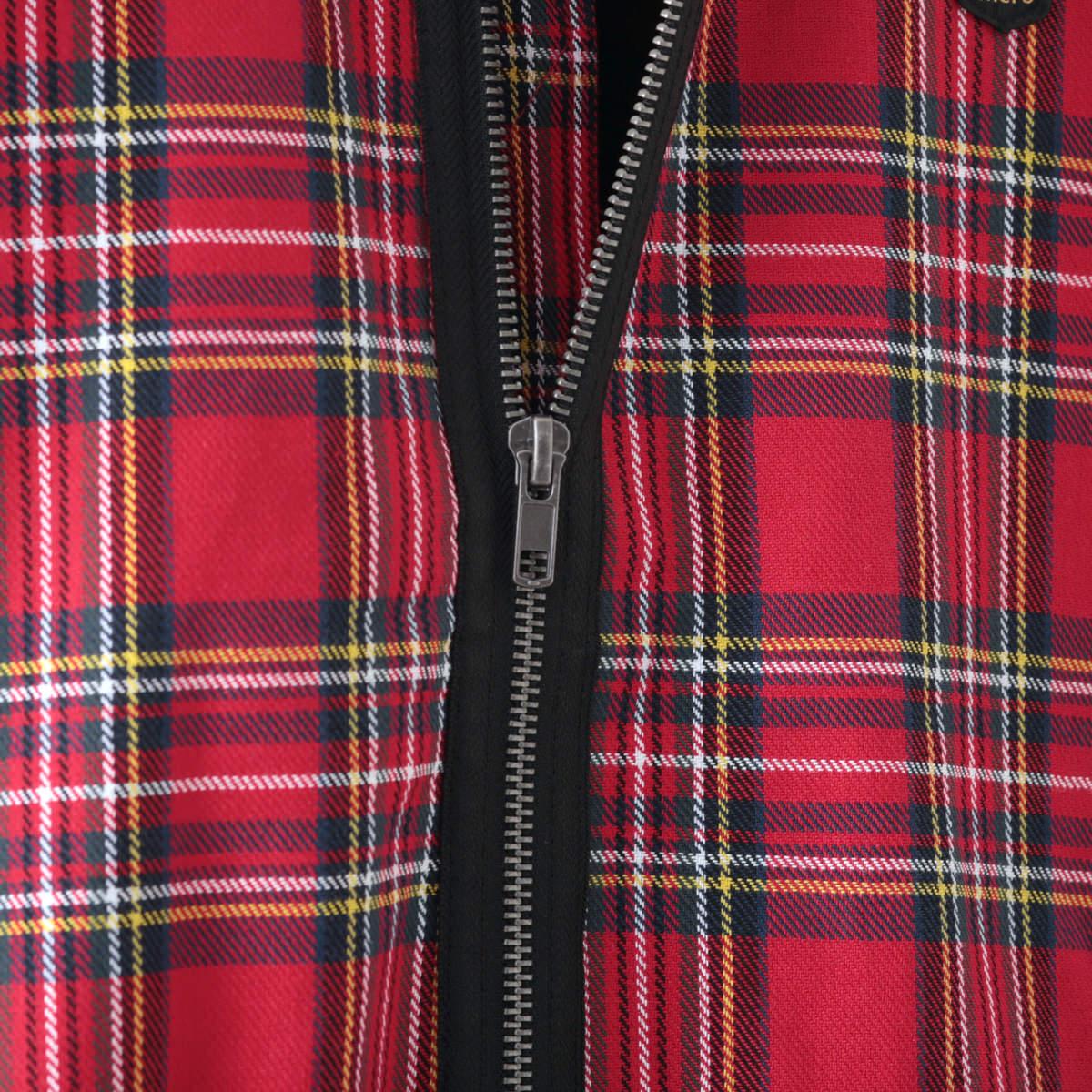 メルクロンドン メンズ ボンバージャケット タータンチェック レッド Merc London モッズファッション