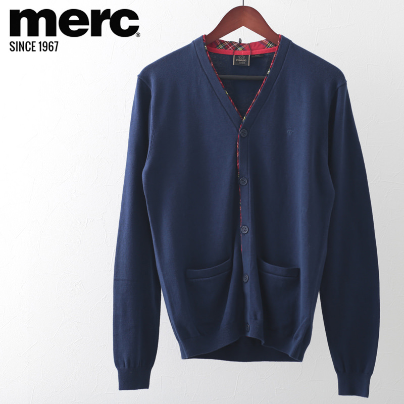 メルクロンドン メンズ カーディガン タータンチェック ライン ネイビー Merc London モッズファッション