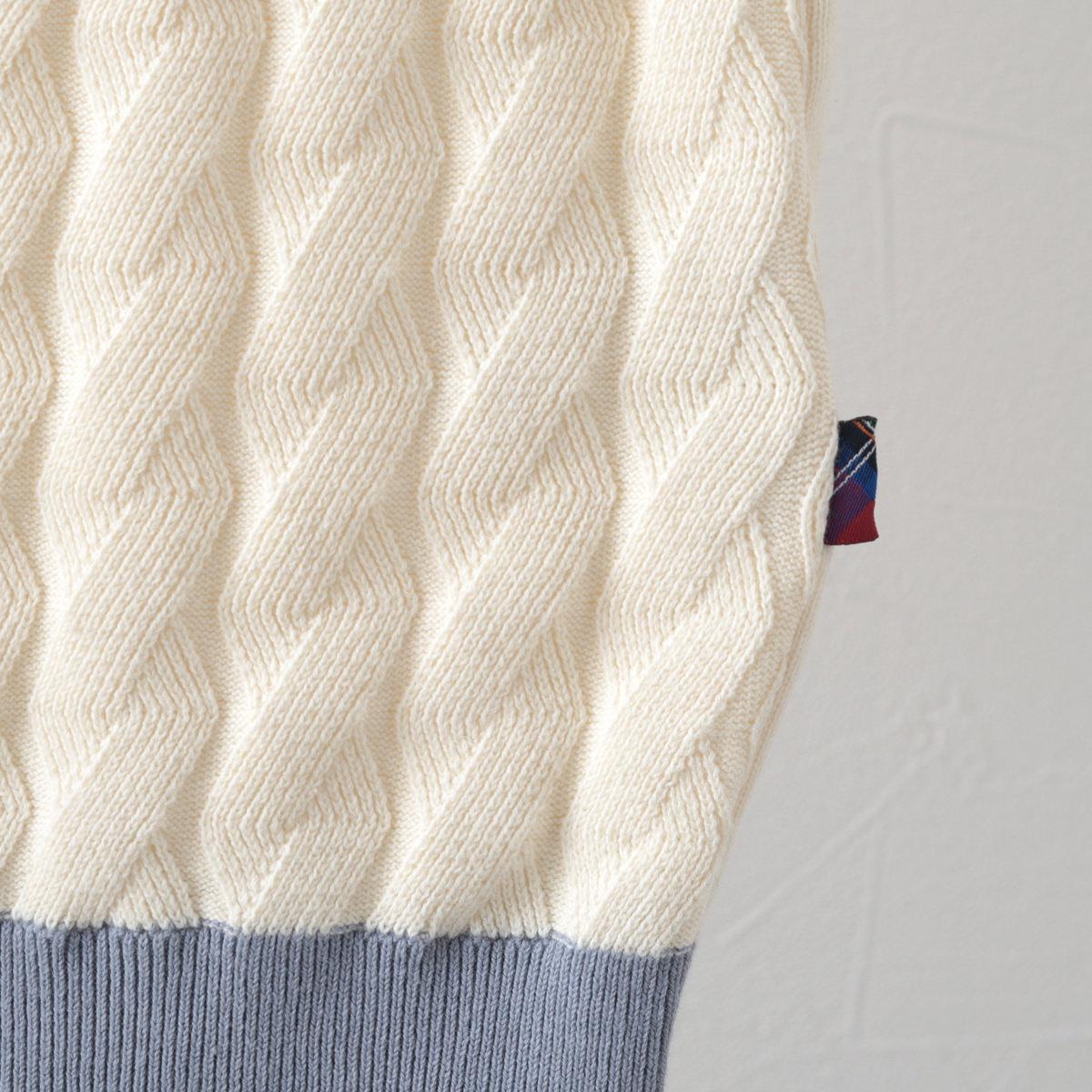 メルクロンドン メンズ ポロシャツ ポロ ケーブルニット 2色 シーグリーン アイボリー Merc London モッズファッション