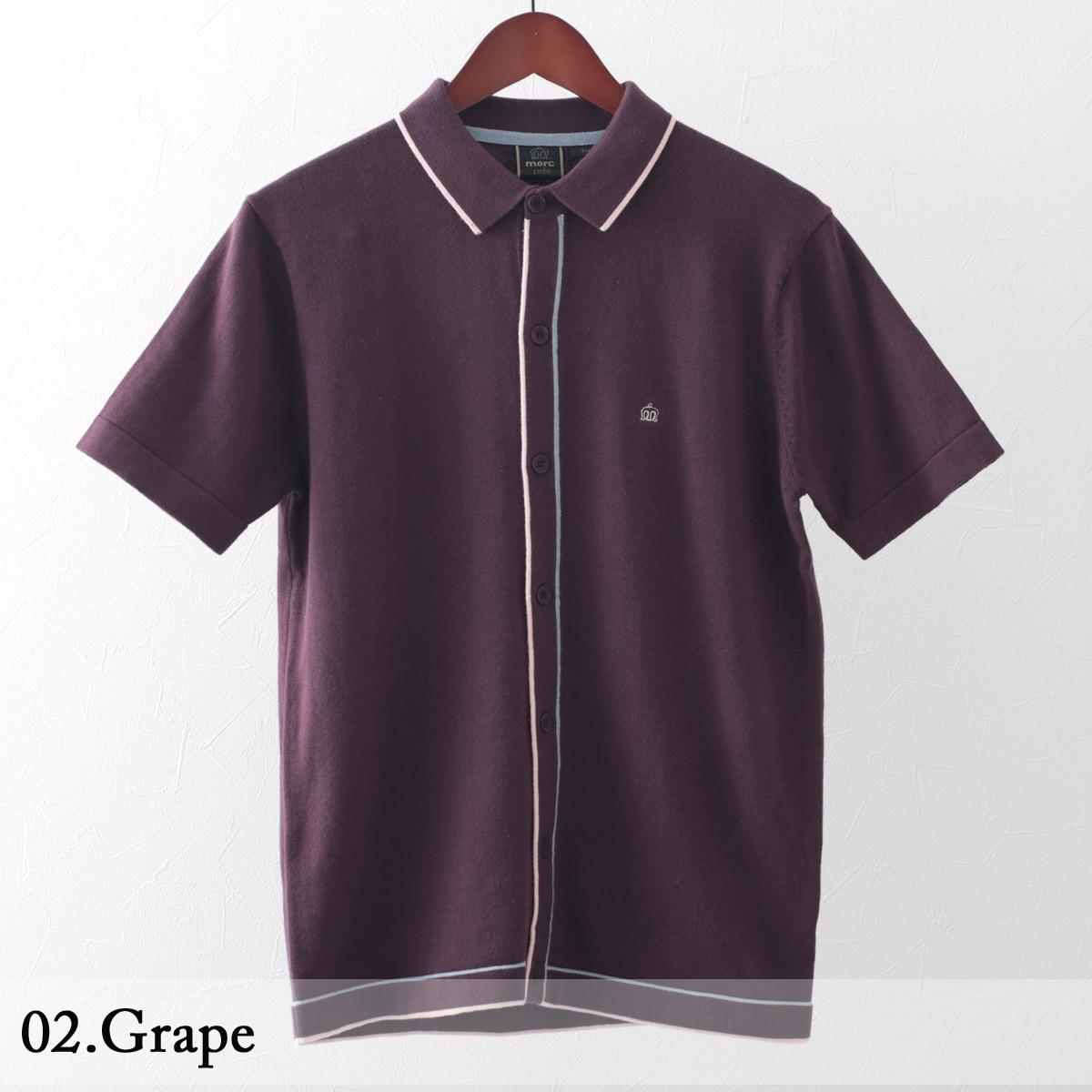 メルクロンドン メンズ ポロシャツ ポロ ライン ニット 2色 グレープ ネイビー Merc London モッズファッション
