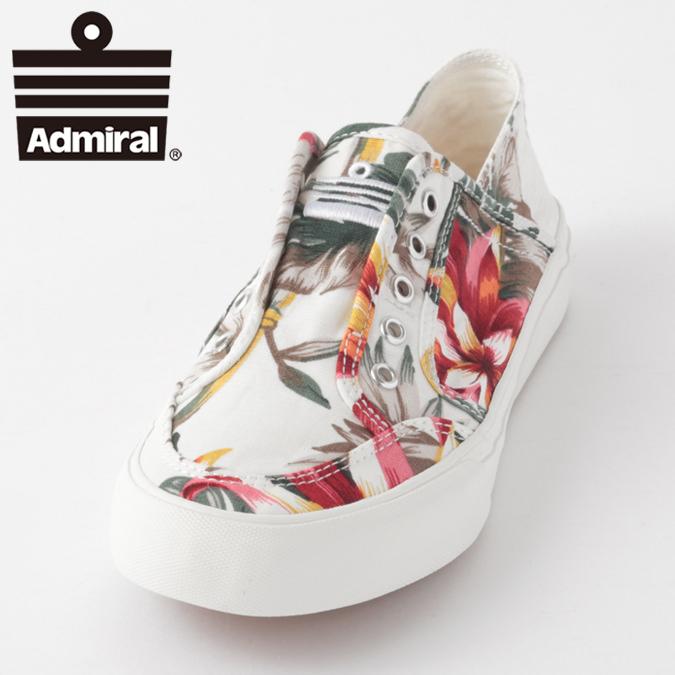 Admiral メンズ スニーカー アドミラル イノマーリゾートINOMER RESORT 紐なし シューズ 総柄 ホワイト トロピカル レディース