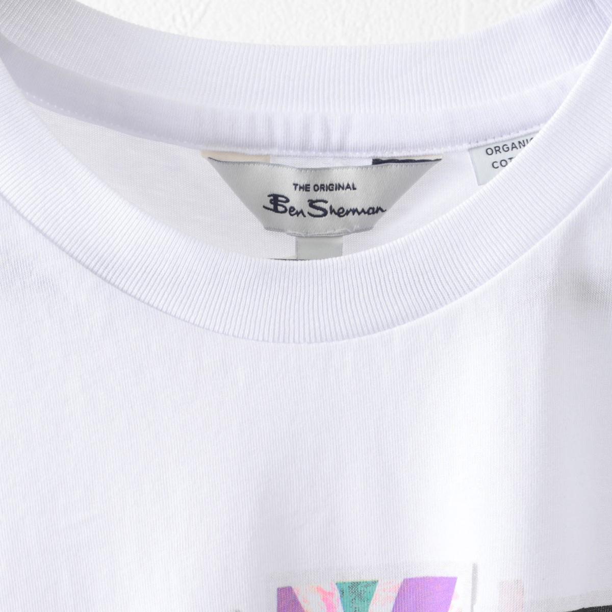 Ben Sherman ベンシャーマン メンズ Tシャツ フォトスタックプリント 2色 シー ホワイト オーガニックコットン レギュラーフィット
