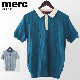 メルクロンドン メンズ ポロシャツ ポロ ブロック ニット 2色 ダストブルー ティール Merc London モッズファッション