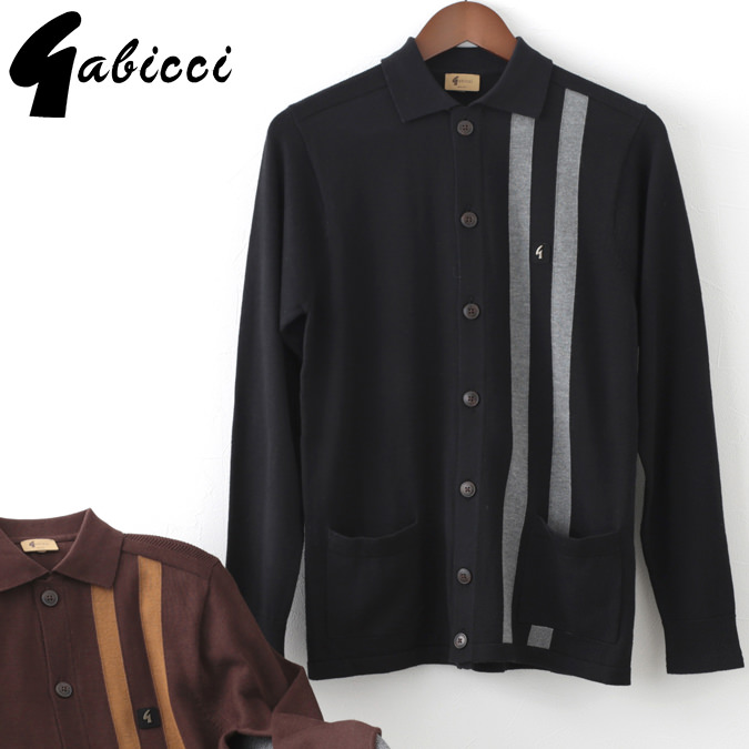Gabicci メンズ カーディガン ガビッチ ストライプ ニット ボタンスルー 2色 ブラック ココア レトロ モッズファッション