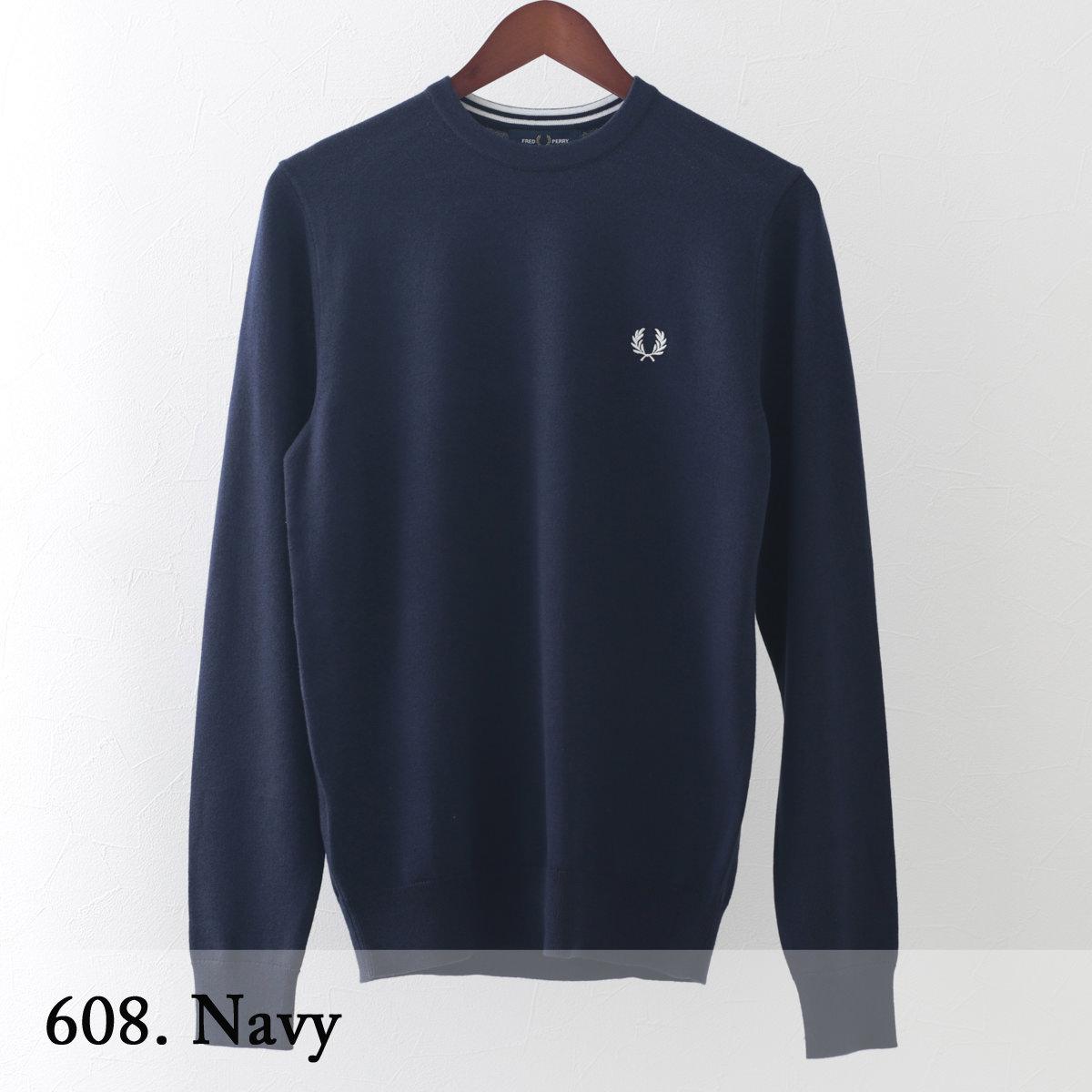 フレッドペリー メンズ セーター メリノウール コットン クラシック クルーネック ニット Fred Perry 10色 正規販売店 ギフト トラッド