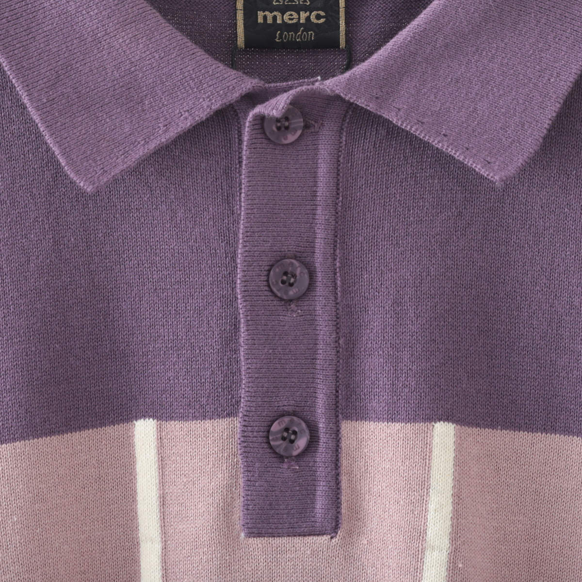 メルクロンドン メンズ ポロシャツ ポロ ストライプ ツートン 切替 2色 ダークグレー プラム Merc London モッズファッション