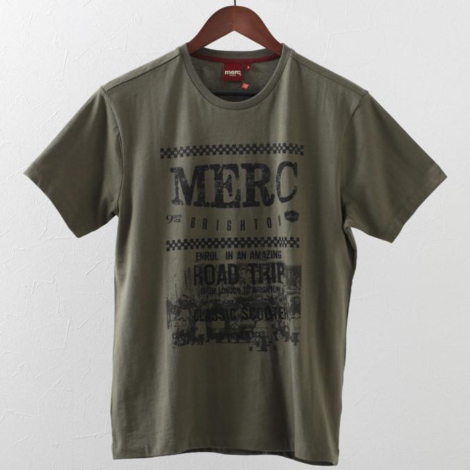 Tシャツ ロード トリップ グラフィック 2色 ダークセージ ホワイト メンズ Merc London メルクロンドン