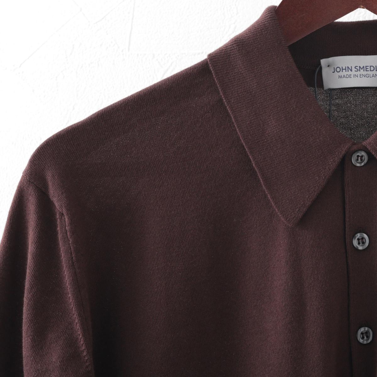 ジョンスメドレー JOHN SMEDLEY アイシス メンズ ポロシャツ ポロ ISIS シーアイランドコットン 4色 チャコール ブラック ネイビー コーヒービーン ジョンスメドレイ イージーフィット 英国製 ニット メンズ
