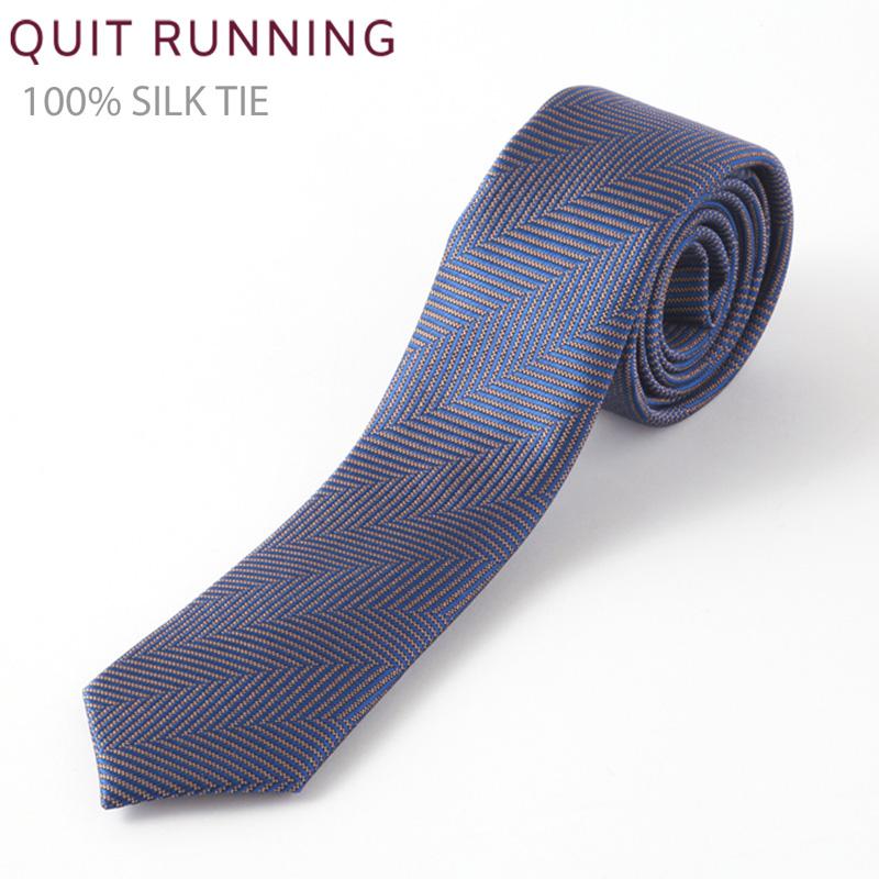 シルクネクタイ Quit Running ヘリンボーン ネイビー ブルー ハンドメイド クイトランニング メンズ英国ブランド 個性的 男性 メンズ トラッド