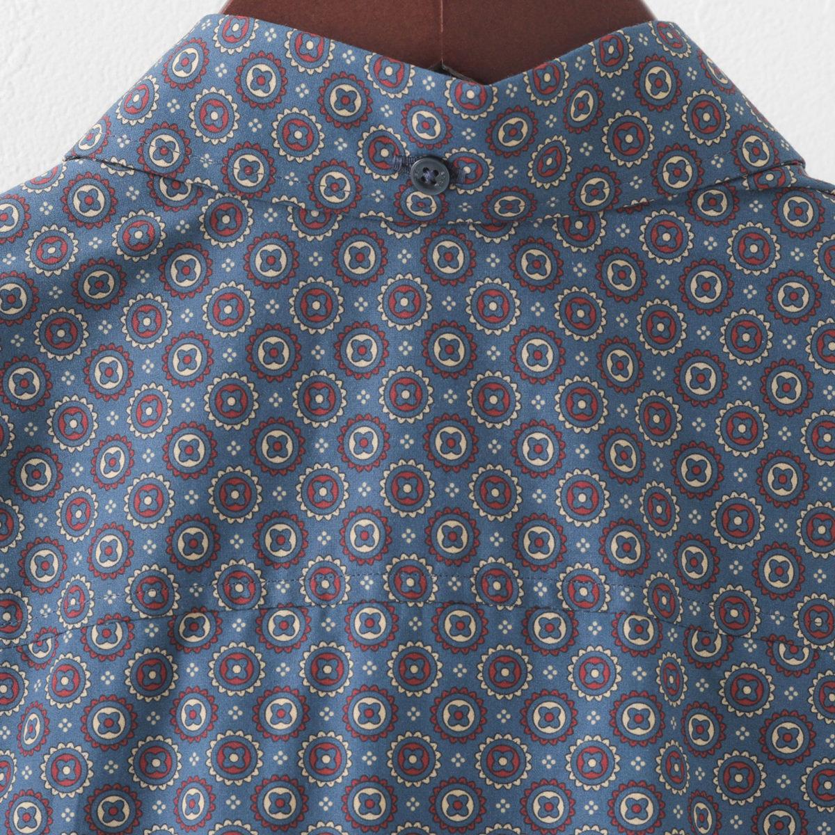 Ben Sherman ベンシャーマン メンズ 長袖シャツ ジオフラワープリント 2色 アイボリー ネイビー スリムフィット
