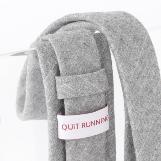 英国ブランドQuit Running ウールタイ  グレー クイトランニング ギフトBOX付 ハンドメイド