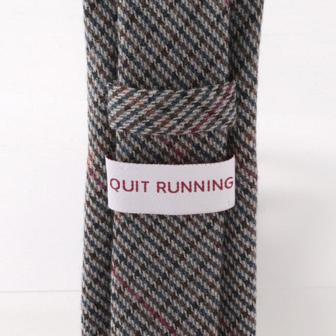 英国ブランドQuit Running ウールタイ  チャコール シェパードチェック クイトランニング ギフトBOX付 ハンドメイド