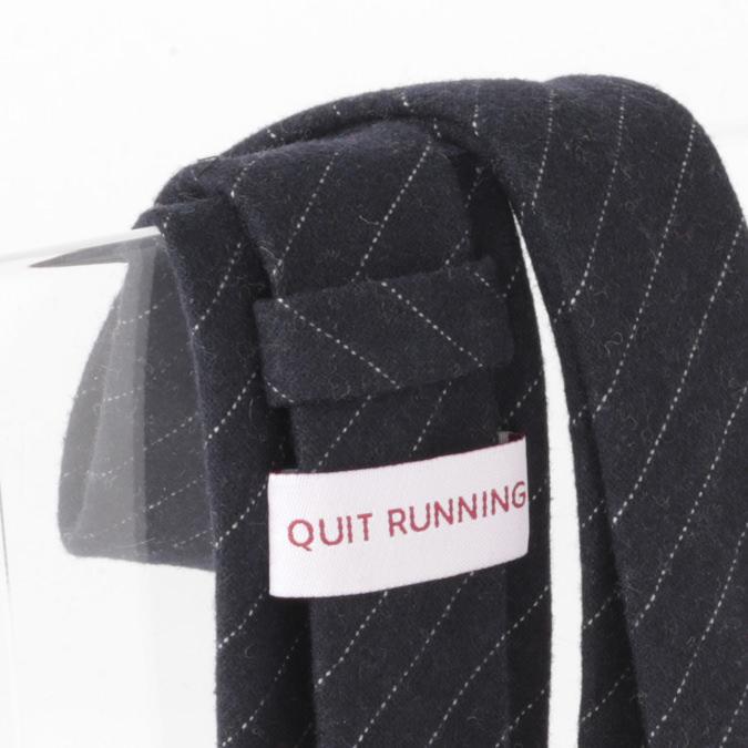英国ブランドQuit Running ウールタイ  ネイビー ストライプ クイトランニング ギフトBOX付 ハンドメイド