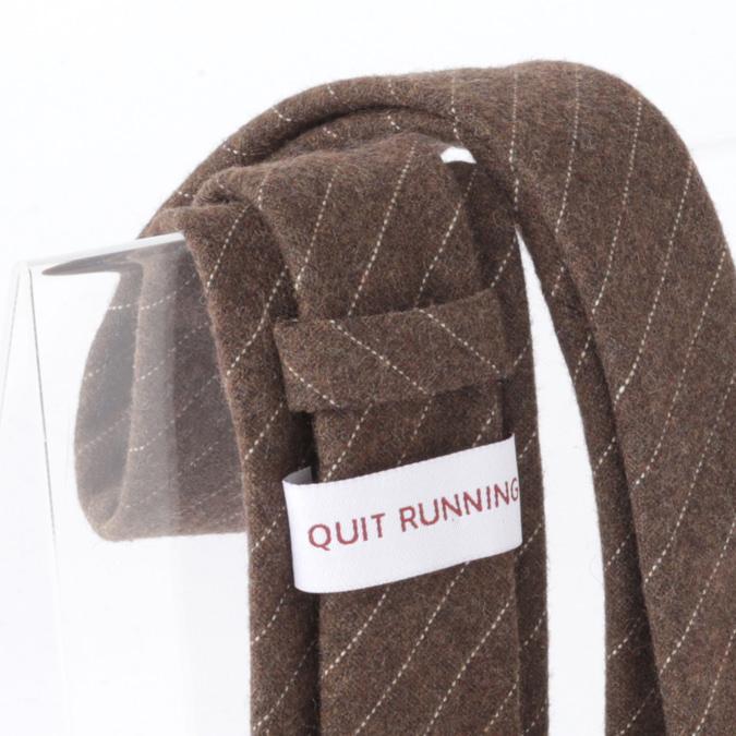 英国ブランドQuit Running ウールタイ  ブラウン クイトランニング ギフトBOX付 ハンドメイド