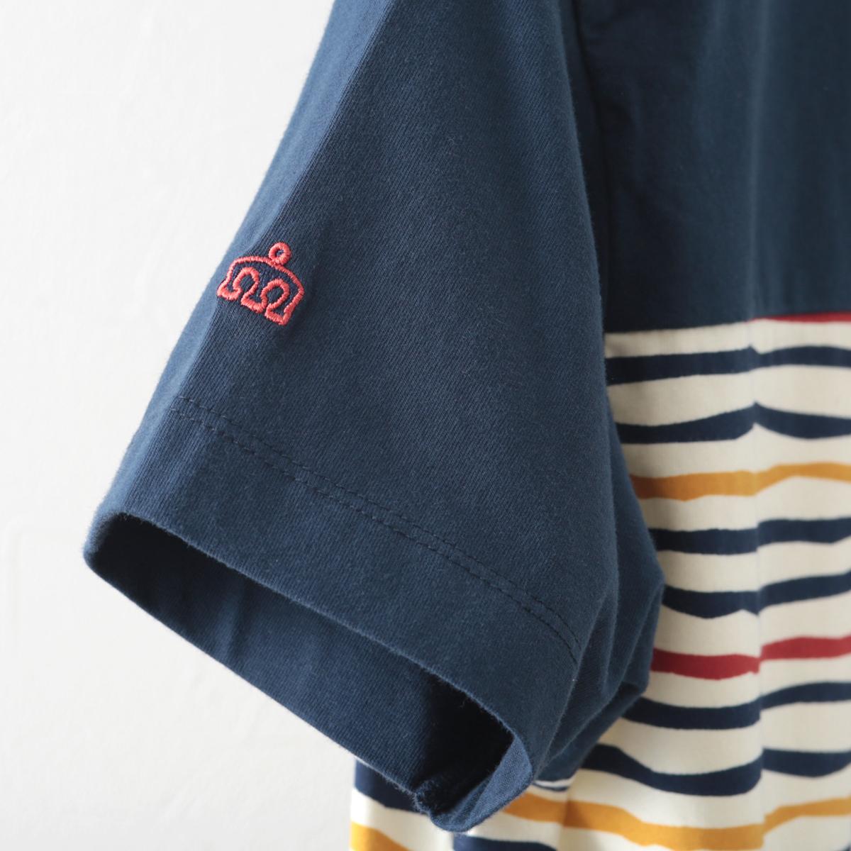 メルクロンドン メンズ Tシャツ ストライプ マルチ カラフル Merc London ネイビー レトロ