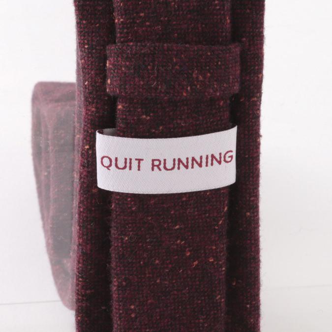 英国ブランドQuit Running ウールタイ  バーガンディ ドニゴール 無地 クイトランニング ギフトBOX付 ハンドメイド