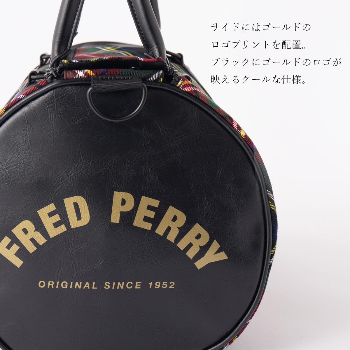 フレッドペリー バレルバッグ トートバッグ タータンチェック メンズ 26×45×25cm ブラックタータン ユニセックス Fred Perry 正規販売店