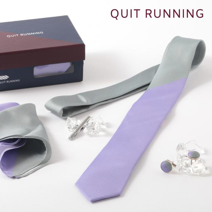 シルクネクタイ Quit Running 英国ブランド メンズギフト4点セット ツートン シルバー×ラベンダー ネクタイ ポケットチーフ タイクリップ カフス ステンレス ネクタイピン