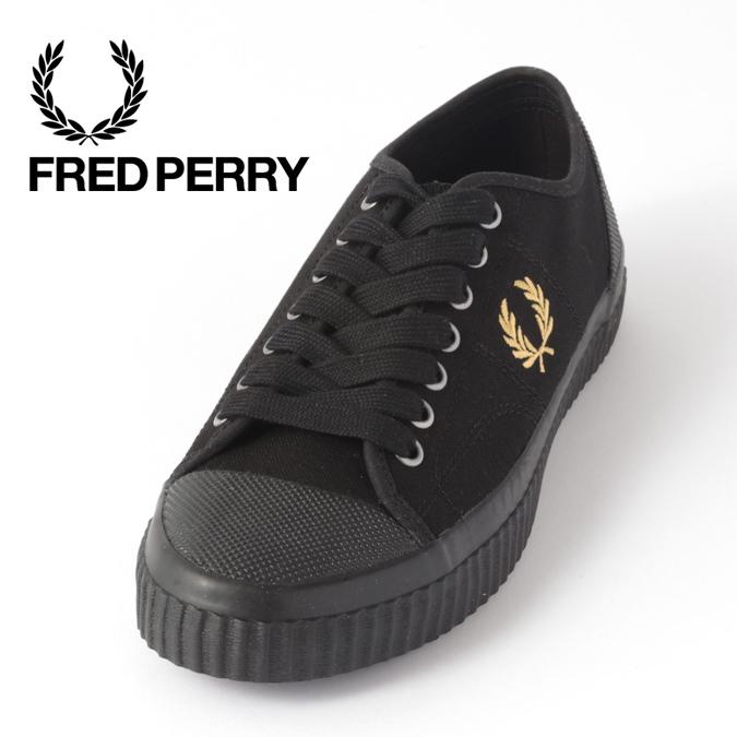 フレッドペリー メンズ スニーカー シューズ ヒューズロー キャンバス  Fred Perry ユニセックス ブラック レディース 正規販売店