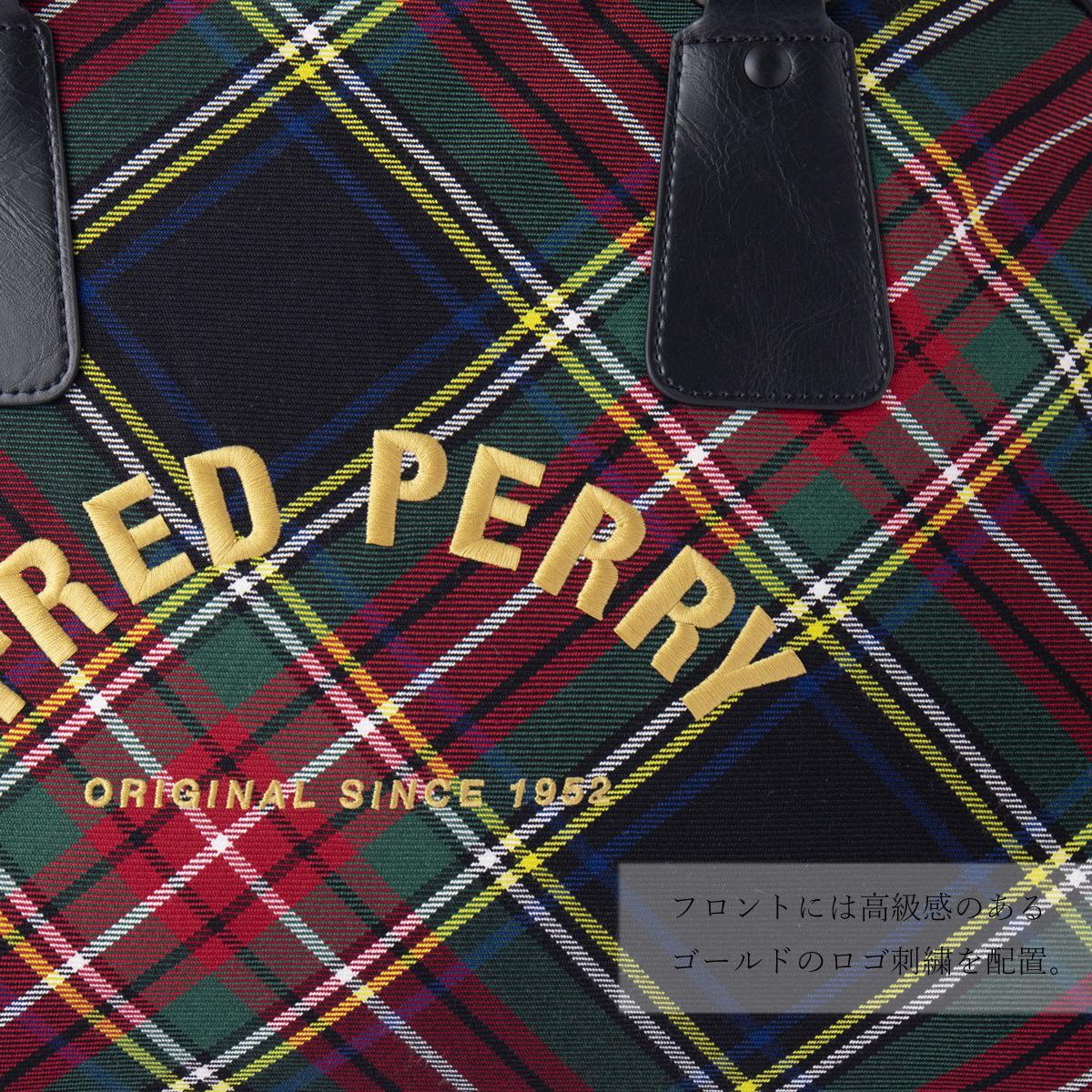 フレッドペリー Fred Perry トートバッグ タータンチェック 男女兼用 42×29×19cm Fred Perry ブラックタータン 正規販売店
