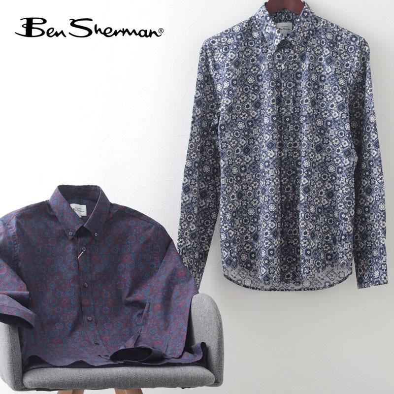 ベンシャーマン メンズ 長袖シャツ Ben Sherman フーラード プリントシャツ 2色 ポート バイオレット