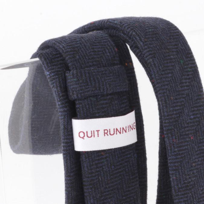 英国ブランドQuit Running ウールタイ  ネイビー ヘリンボーン クイトランニング ギフトBOX付 ハンドメイド