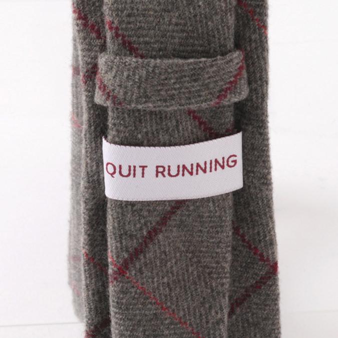 英国ブランドQuit Running ウールタイ  グレーウィンドウペン チェック クイトランニング ギフトBOX付 ハンドメイド