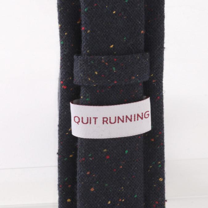 英国ブランドQuit Running ウールタイ  ネイビー カラーネップ クイトランニング ギフトBOX付 ハンドメイド