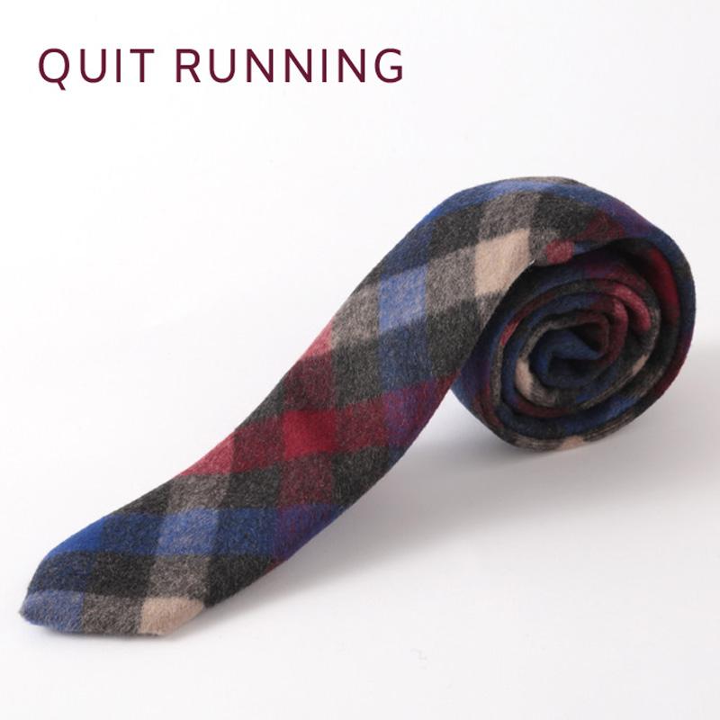 英国ブランドQuit Running ウールタイ  ブルー ワイン チェック クイトランニング ギフトBOX付 ハンドメイド