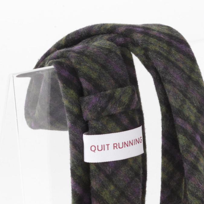 英国ブランドQuit Running ウールタイ  パープル グリーン チェック クイトランニング ギフトBOX付 ハンドメイド