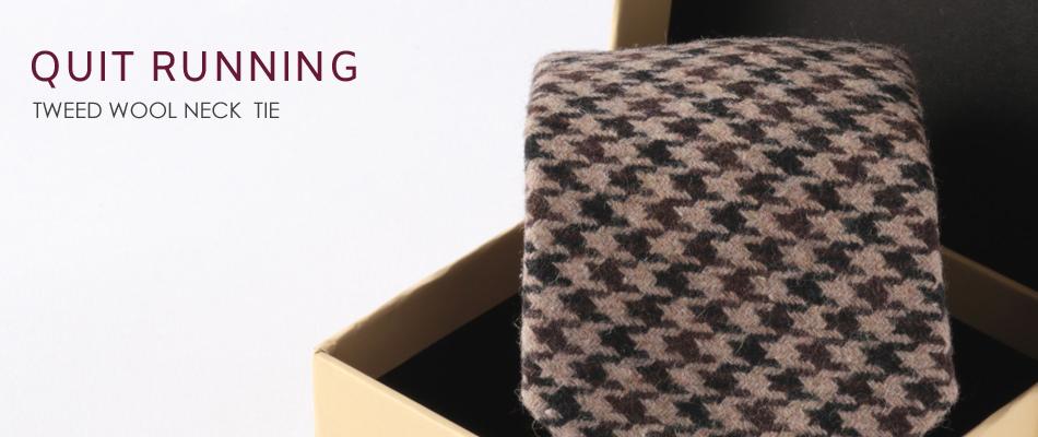 英国ブランドQuit Running ウールタイ  ベージュ ハウンドトゥース クイトランニング ギフトBOX付 ハンドメイド