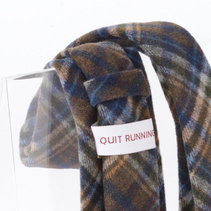 英国ブランドQuit Running ウールタイ  ブラウン ブルー チェック クイトランニング ギフトBOX付 ハンドメイド
