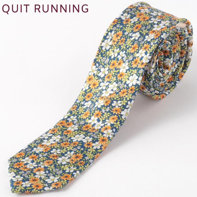 シルクネクタイ Quit Running フローラル フラワー 花柄 シルク ネクタイ ハンドメイド 英国ブランド ネイビー メンズ