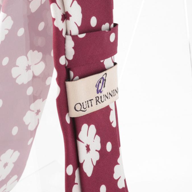 シルクネクタイ Quit Running フローラル フラワー 花柄 シルク ネクタイ ハンドメイド 英国ブランド バーガンディー メンズ